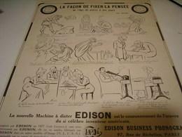 ANCIENNE PUBLICITE LA MACHINE A DICTER  DE  EDISON 1912 - Musique & Instruments