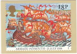 Plymouth - 21 July 1588 - The Armada  (18p Stamp) - First Day Of Issue 19 Jul 1988, Salisbury - (U.K.) - Postzegels (afbeeldingen)