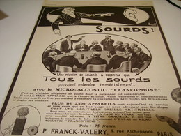 ANCIENNE PUBLICITE SOURDS APPAREIL FRANCOPHONE 1912 - Musique & Instruments