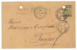 Marcophilie Maroc Entier Postal Avec Cachet De Poste Anglaise à Saffi De 1910 - Grande-Bretagne (ex-colonies & Protectorats)
