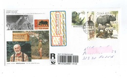 Czech Republic 2018 - Personaled Stamp ZOO Dvur Kralove And Stamp From S/S, Spec.cover,. Registered Postage Used Cover, - Rhinozerosse