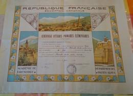 Certificat De Fin D'ÉTUDES PRIMAIRES, 1941, Hautes-Alpes. RARE. - Diplômes & Bulletins Scolaires