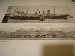 COUPE LOGITUDINALE DES PAQUEBOTS TITANIC ET OLYMPIC 1912 - Boats