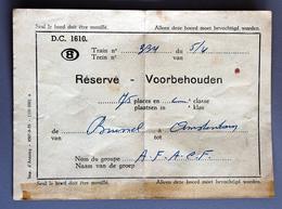 Etiquette Réservation Train AFAC Brussel-Amsterdam Coll Schnabel - Other