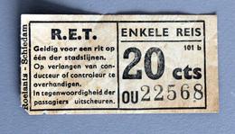 Billet Simple R.E.T De ROTTERDAM  SCHIEDAM Coll Schnabel - Tramways
