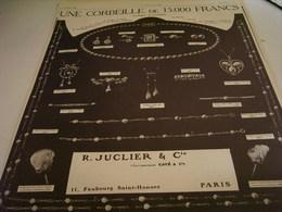 ANCIENNE PUBLICITE  BIJOUX CREATION BAGUE DE FIANCAILLE  JUCLIER 1912 - Bijoux & Horlogerie