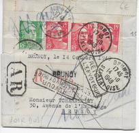 GANDON - 1949 - LETTRE LOCALE RECOMMANDEE AR De BRUNOY => RETOUR à L'ENVOYEUR - 1921-1960: Modern Period