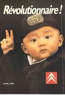 NUGERON  N°J 136 PUB Publicité Campagne Publicitaire CITROEN 1987 Révolutionnaire !  (enfant Bébé Chinois)  * PRIX FIXE - Publicité