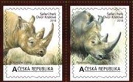 Czech Republic 2018 -  2  Self-adhesive Personaled Stamps  ZOO-Safari  Dvur Kralove Nad Labem From MS I, MNH - Rhinozerosse