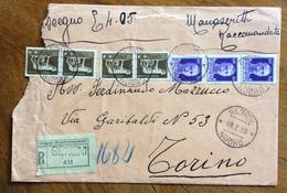 GENONI  Lineare + GENONI NUORO  SU RACCOMANDATA   PER TORINO IN DATA 18/7/38 - 1900-44 Vittorio Emanuele III