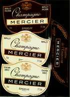 Etiquette  Lot De 4  -   Champagne  Brut, Demi-Sec, Brut Rosé, Réserve De L'Empereur  MERCIER  Epernay - Champagne