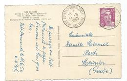 GANDON 10FR VIOLET SEUL CARTE PETIT BORNAND LES GLIERES 11.8.1950 HTE SAVOIE POUR GENEVE TARIF FRONTALIER - 1921-1960: Modern Tijdperk