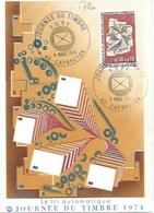 TP 1786 Seul Sur Carte Postale Du Tri Automatique, Journée Du Timbre 1974 Avec Cachet 1er Jour - Marcophilie (Lettres)
