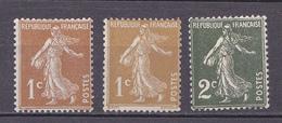 N° 277A Et 278B Et 278 Type Semeuse Fond Plein Inscription Grasse Timbres Neuf Impecable Sans Charnière - France