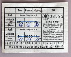 Carte Papier 6 Jours  Tramways D'Insbruck -Jenbach Coll Schnabel - Season Ticket