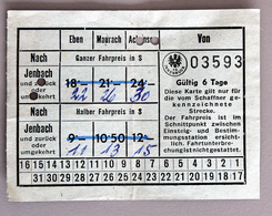 Carte Papier 6 Jours  Tramways D'Insbruck -Jenbach Coll Schnabel - Abonnements Hebdomadaires & Mensuels