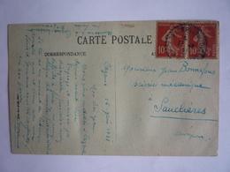 CACHET BLEU BUREAU DISTRIBUTION CAZEAUX-DE-LARBOUST HAUTE GARONNE 1921 PAIRE SEMEUSE - CP LUCHON RESERVE DES ROCHERS - Marcofilie (Brieven)