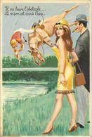 """HUMOUR  ILLUSTRATEUR CARRIERE  HIPPISME  """"IL VA BOIRE L'OBSTACLE """" 50315 EDIT. PHOTOCHROM - Humour"""