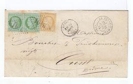 Sur Lettre Paire De Céres 5 C. Vert Et Un Céres 15 C. Bistre Obl. Losange. CAD La Seyne Sur Mer 1873. (504) - Marcophilie (Lettres)