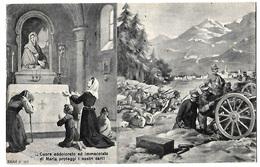 """Cartolina Postale Con Preghiera Alla Madonna Per Parenti Combattenti In Guerra - """"Cuore Di Maria Proteggi I Nostri Cari"""" - Guerra 1914-18"""