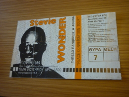 Stevie Wonder Ticket D'entree Music Concert In Athens Greece 1989 Peace Conversation Tour - Concert Tickets