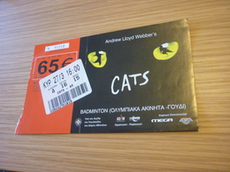 Andrew Lloyd Webber's CATS Ticket D'entree Music Concert In Athens Greece 2005 Badminton Stadium - Concert Tickets