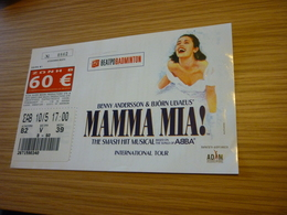 Mamma Mia Abba Ticket D'entree Music Concert In Athens Greece International Tour - Concert Tickets