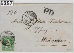 1869 Helvetia 40/32 P.D. Winterthur 18.X.69 To München 19. Oct. - 1862-1881 Sitzende Helvetia (gezähnt)