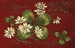 Année Date Millesime - 1903 - Trèfle Et Fleurs Gaufré Doré - New Year