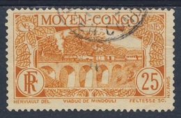 Moyen Congo / Mittelkongo 1933 Mi 74 YT 120  Used - Railway Viaduct Mindouli / Viadukt Von Mindouli / Eisenbahnbrücke - Treinen