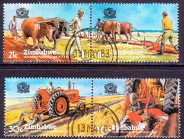 ZIMBABWE 1983 SG #626-29 Compl.set Of Two Horiz.pairs Used Ploughing Contest - Zimbabwe (1980-...)