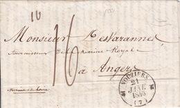 18931# ARDENNES LETTRE 3ème ECHELON DE POIDS Obl VOUZIERS 1846 T12 Pour ANGERS MAINE ET LOIRE - 1801-1848: Precursors XIX