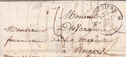18932# ARDENNES LETTRE Obl VOUZIERS 1846 T12 Pour ANGERS MAINE ET LOIRE - 1801-1848: Precursors XIX