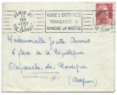 ENVELOPPE MARIANNE DE GANDON N° 719A 5f ROSE PARIS 22 RUE TAITBOUT 1947 / ENTR'AIDE FRANCAISE - Postmark Collection (Covers)