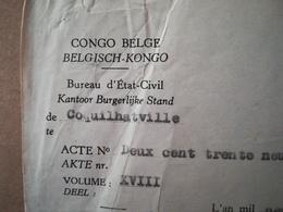 EXTRAIT D ACTE DE NAISSANCE DU CONGO -  BELGE COLONIE BELGIQUE DÉLIVRÉ À COQUILTHAVILLE EN 1955 - Documenti Storici