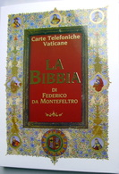 """VATICANO 2018, FOLDER """"LA BIBBIA DI FEDERICO DA MONTEFELTRO"""" 4 NEW TELEPHONE CARDS - Vaticano (Ciudad Del)"""