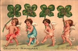 Année Date Millesime - 1904 - Nieuwjaar, Angelots Et Tréfles Gaufrée - New Year