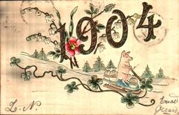 Année Date Millésime 1904 - Cochon Sur Luge Sac D'argent, Gaufré Embossed - Nouvel An