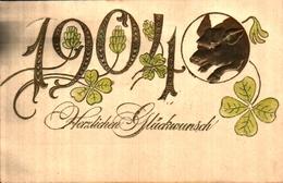 Année Date Millésime 1904 - Cochon Doré Tréfles, Gaufré Embossed - Nouvel An