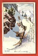 GCE-03  Litho Alpinistes Dans Une Descente à Skis. Ski=Heil. Circulé En 1906. Attention : Trous De Punaises !!! - Alpinisme