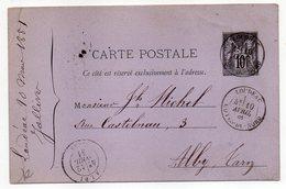 1881-entier Carte Postale  SAGE 10c Noir- Cachets LOUDEAC-Côtes Du Nord --ALBI- Tarn - Standard Postcards & Stamped On Demand (before 1995)