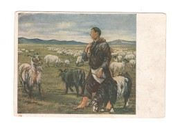 04779 Soviet Russia Buryat Mongolia Art Sheep Mouton Ovis Shepherd Old Carte 1941 - Malerei & Gemälde