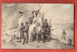 GCE-26 Litho  Grenzbesetzung Occupation Des Frontières 1914, Sentinelles Et Dame Helvetia, Paysan. Circulé En 1916 - Switzerland