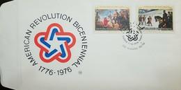 L) 1976 RWANDA, BICENTENARY OF THE UNITED STATES, HORSE, BATLE, AMERICAN REVOLUTION BICENIENNAL 1776-1976, FDC - Rwanda
