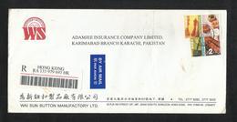 Hong Kong China Registered Air Mail Postal Used Cover Hong Kong To Pakistan - Other