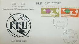 L) 1965 BAHAMAS, CENTENARY OF THE INTERNATIONAL TELECOMMUNICATION UNION, ORANG, GREEN, FDC - Bahamas (1973-...)