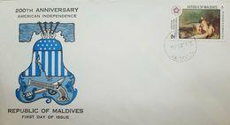 L) 1976 MALDIVES,  AMERICAN REVOLUTION BICENTENNIAL 1776-1976, HORSE, BLUE, FDC - Maldives (1965-...)