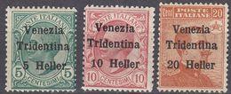 """TRENTINO - 1919 - Serie Completa Nuova (MH E MNH): Unificato 28/30, Con Sovrastampa """"Venezia Tridentina"""". - 8. Besetzung 1. WK"""