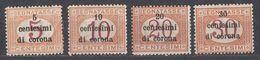 VENEZIA GIULIA, EMISSIONI GENERALI - 1919 - Lotto 4 Valori Nuovi MH Segnatasse Unificato 1/4. - 8. WW I Occupation