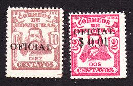 Honduras, Scott #O53, O57, Mint Hinged, Famous Man OverprintedSurcharged, Issued 1915 - Honduras